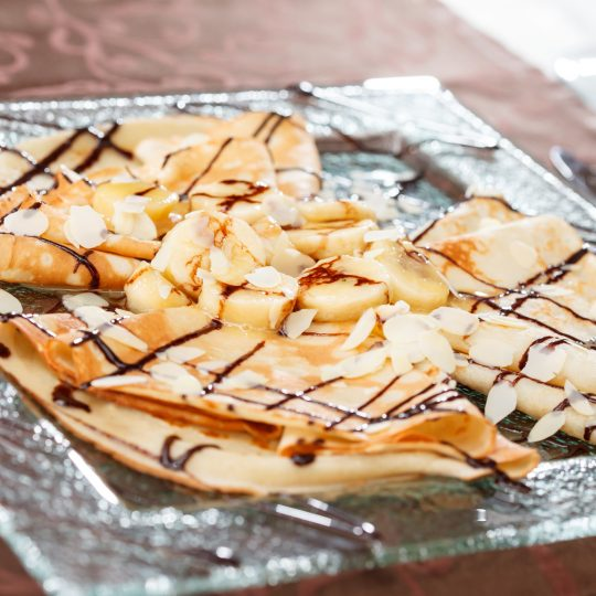 Photo de la recette <span>Banana, chocolate, and almond pancakes</span>