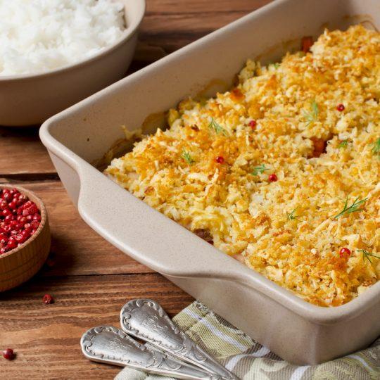 Photo de la recette <span>Noisette de saumon en croûte de crumble aux fruits secs et au curry</span>