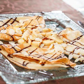 Photo du produit <span>Banana, chocolate, and almond pancakes</span>